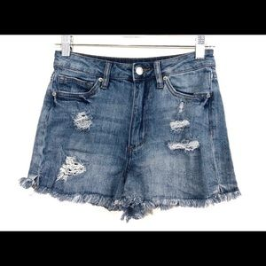 Joe's high rise distressed raw fringe hem shorts
